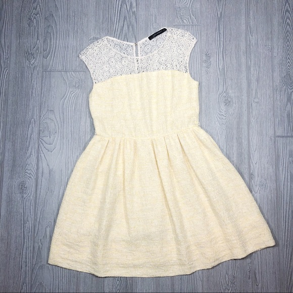 Zara Dresses & Skirts - Zara   open back lace and tweed dress yellow